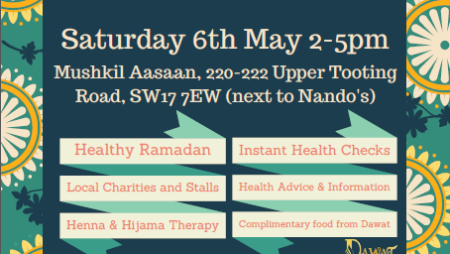 Community Health Event Saturday 6th May 2-5pm